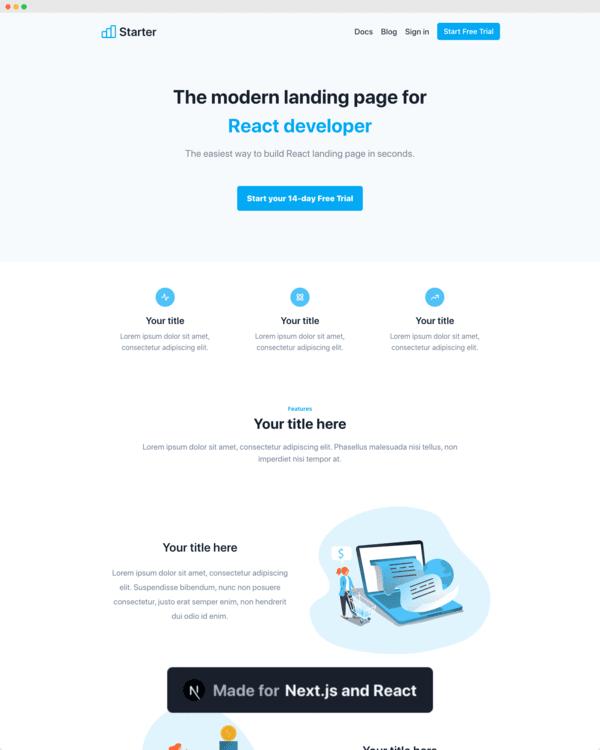 Blue Landing Page Nextjs Theme