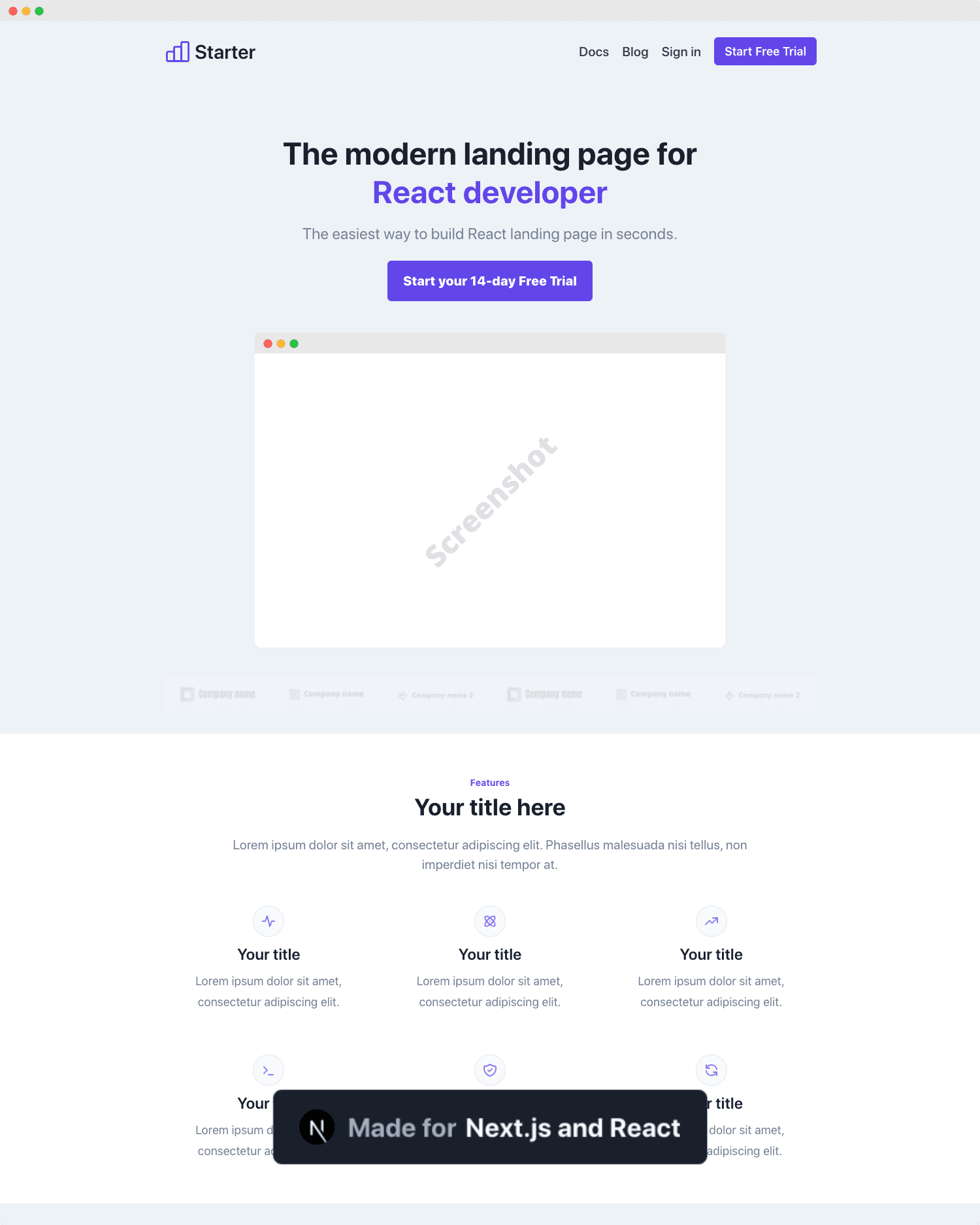 Responsive Landing Purple Reactjs Theme