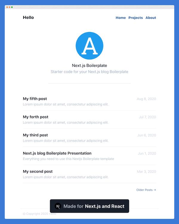 Blue Minimalist Nextjs Theme premium